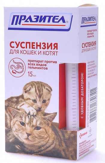 Способ применения таблеток и суспензии празител для кошки и котенка