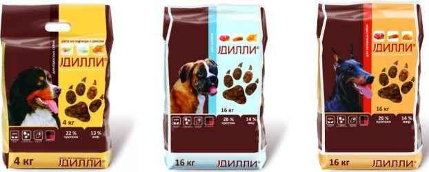 Обзор кормов для собаки от фирмы «Дилли»: анализ компонентного состава